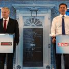 Conservative party leadership candidates Boris Johnson and Jeremy Hunt during a head-to-head debate in The News Building, London. Photo credit: Louis Wood/The Sun/The Sun/PA Wire