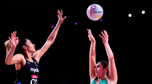 Aiming high: Ciara Crosbie takes on New Zealand yesterday