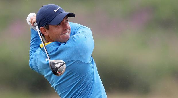 In swing: Rory McIlroy in practice yesterday