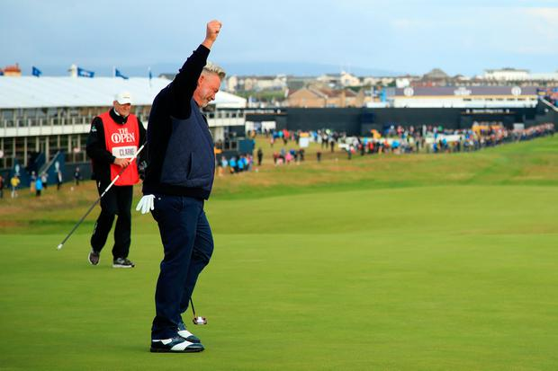 PORTRUSH, NORTHERN IRELAND - JULY 18: Darren Clarke of the Northern Ireland celebrates his birdie on the first green during the first round of the 148th Open Championship held on the Dunluce Links at Royal Portrush Golf Club on July 18, 2019 in Portrush, United Kingdom. (Photo by Andrew Redington/Getty Images)