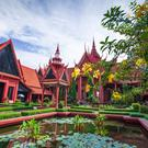 Traditional Khmer architecture and beautiful courtyard of the National Museum of Cambodia. Phnom Penh City, Cambodia.