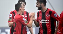 Crusaders Paul Heatley celebrates after he fires the Crues into a 2-0 lead. Photo: Stephen Hamilton