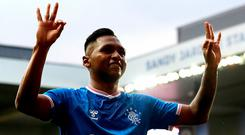 Rangers' Alfredo Morelos celebrates scoring his side's fourth goal and his hattrick during the UEFA Europa League first qualifying round second leg match at Ibrox Stadium. Photo credit: Andrew Milligan/PA Wire