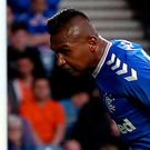 Get in: Rangers' Alfredo Morelos scores his side's second goal at Ibrox last night