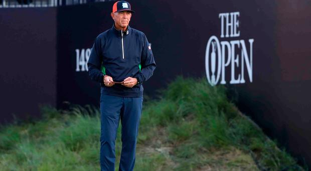Tom Lehman before his first tee shot on day two at The Open Championship at Royal Portrush (Niall Carson/PA)