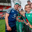 Warm welcome: Jacob Stockdale meets the fans yesterday