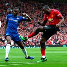 Wanted man: Romelu Lukaku in action against Antonio Conte's former team, Chelsea