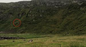 The red circle shows where the man fell from at the Giant's Causeway. Pic Coastguard.