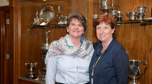 PressEye - Belfast - Northern Ireland - 20th July 2019 Pictured: DUP Leader Arlene Foster with Wilma Erskine, secretary and manager of Royal Portrush Golf Club. Picture: Philip Magowan / PressEye