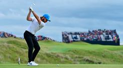 Tommy Fleetwood plays his shot at Calamity Corner during the third round of The Open Championship at Royal Portrush (Stuart Franklin/Getty Images)