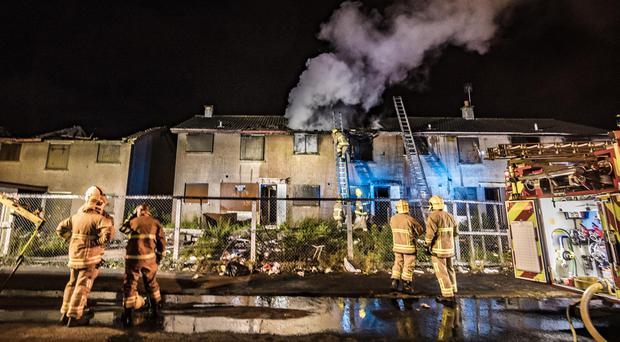 Firefighters battle a blaze in the Dunclug Park area of Ballymena on July 21, 2019 (Photo by Kevin Scott for Belfast Telegraph)