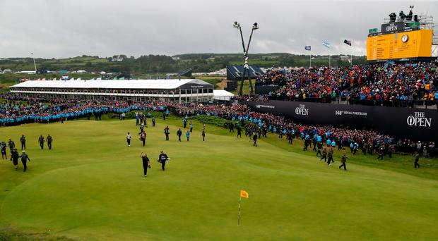 Shane Lowry celebrates on the 18th at The Open Championship at Royal Portrush (Richard Sellers/PA)