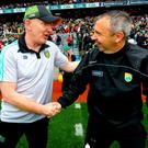 Full respect: Donegal manager Declan Bonner (left) with Kerry boss Peter Keane after the thrilling draw at Croke Park yesterday