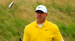 Not happy: Brooks Koepka is disappointed with fourth spot