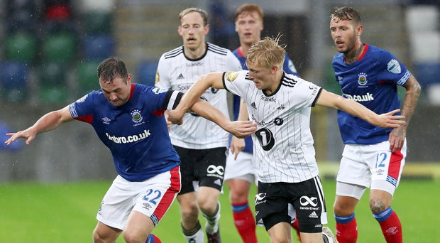 Big milestone: Linfield captain Jamie Mulgrew, making his 550th Blues appearance, takes on Rosenborg's Birger Meling