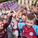 An estimated six thousand young footballers packed into Guildhall Square in Derry-Londonderry as the annual Foyle Cup gets underway across the North West attracting teams from across Europe and North America. Picture Martin McKeown. Inpresspics.com. 23.07.19