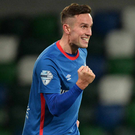Euro joy: Andy Waterworth scored twice for Linfield in Faroes last night to set a new club record