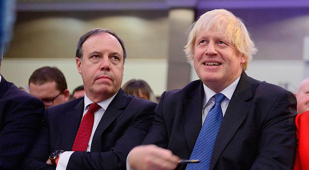 Boris Johnson at the DUP conference with Nigel Dodds