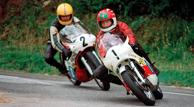 Memory jerker: Raymond McCullough (1) and Joey Dunlop (2) during their famous 1977 battles and their bikes will be seen again at Bishopscourt next weekend
