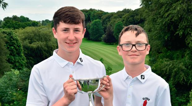 Undefeated: Darcy Hogg (left) and Fionn Dobain of Ulster U14