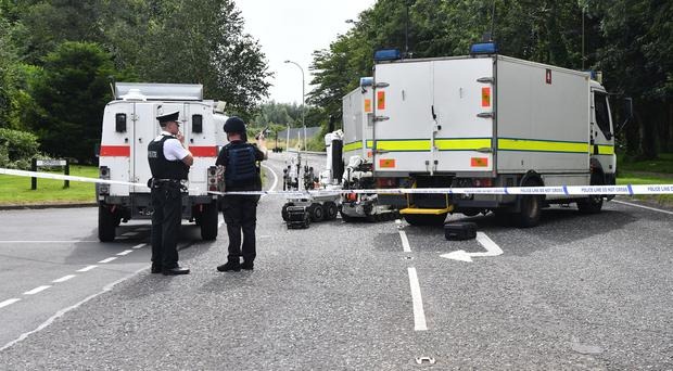 Police and ATO at the scene of a suspicious object in the area of the Tullygally Road area of Craigavon. Credit: Colm Lenaghan/Pacemaker