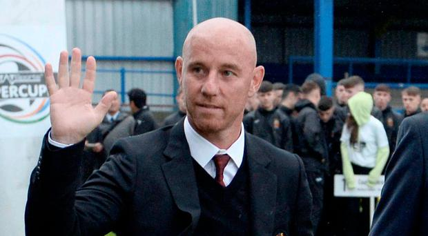 Welcome: Nicky Butt arrives in Coleraine last night