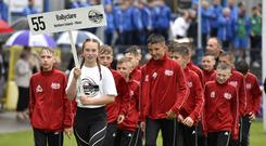 Players from Ballyclare are welcomed to the Coleraine Showgrounds.