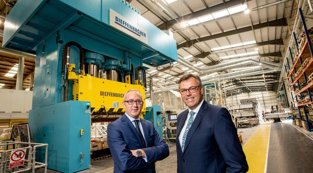 From left, Jonathan Holmes, Creative Composites, with Alastair Hamilton, Invest NI