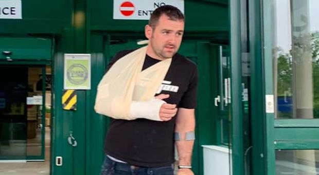 Walking wounded Michael Dunlop has been told his season is over after suffering yet another injury - a suspected broken right wrist - following his herculean efforts in winning the Race of Legends and Open race at Armoy last weekend