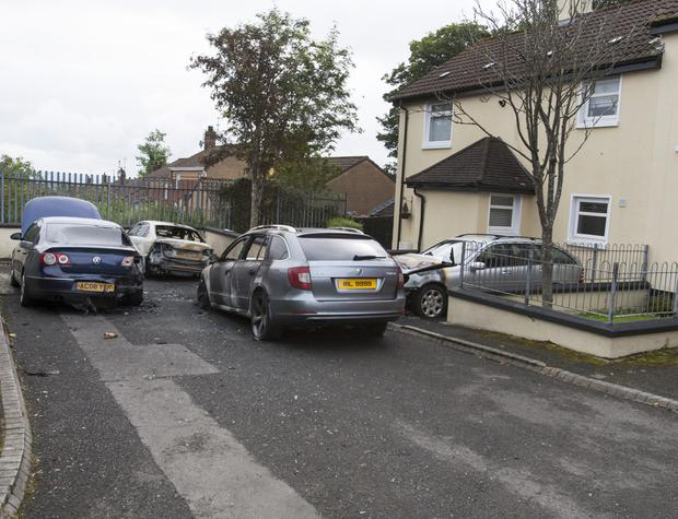Four cars destroyed in arson attack at Barr's Lane, Londonderry. The attack happened around midnight on Monday night.