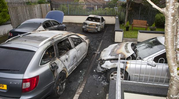 Four cars destroyed in arson attack at Barr's Lane, Londonderry.
