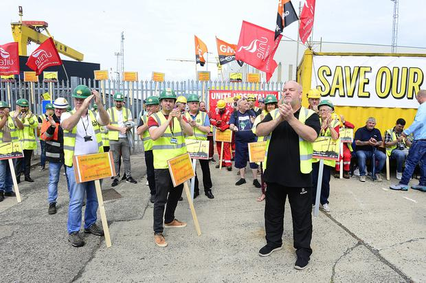 Workers continue their protest at the entrance to Harland and Wolff in Belfast where they say they plan to stay until the shipyard is privatised. Credit: Arthur Allison/Pacemaker.