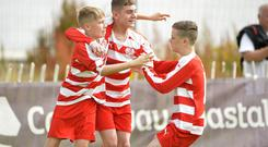Statsports Supercup NI 2019 Minor fixture between Ballyclare and Portadown at Castlerock. Ballyclare's Logan McWilliams celebrates after he slots home to put his side 1-0 up Credit : Stephen Hamilton/Presseye