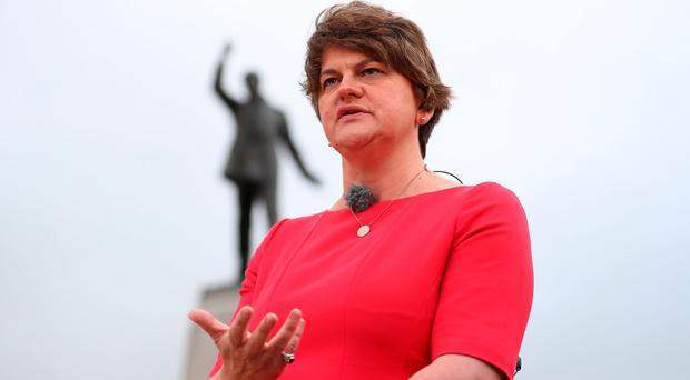 DUP Leader Arlene Foster during an interview with the BBC in while waiting for the arrival of Prime Minister Boris Johnson, in front of Carson's statue at Stormont House in Belfast. Liam McBurney/PA Wire