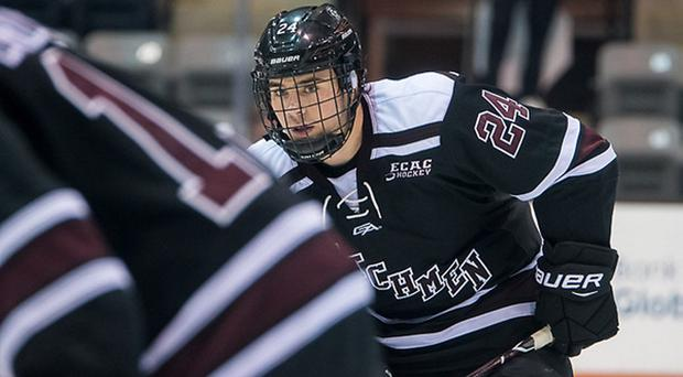 New Belfast Giants forward Liam Morgan in action for Union College