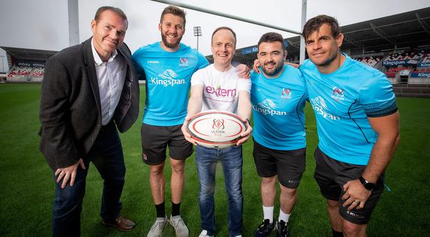 (From left) Ulster Rugby CEO Jonny Petrie, Stuart McCloskey, Extern's director of business development Gavin Adams, Marty Moore and Louis Ludik at the launch of a new partnership between Ulster and Extern