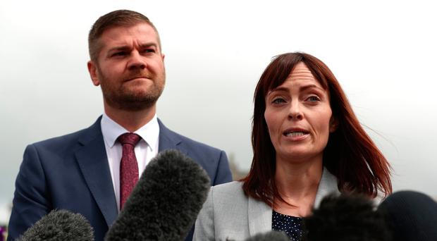 SDLP deputy leader Nichola Mallon and Colin McGrath speak with the media outside Stormont House. Credit: Liam McBurney/PA Wire