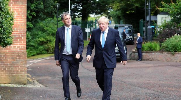 UK Prime Minister Boris Johnson is pictured with Secretary of State for Northern Ireland, Julian Smith MP at Stormont House in Belfast. Photo by Kelvin Boyes / Press Eye