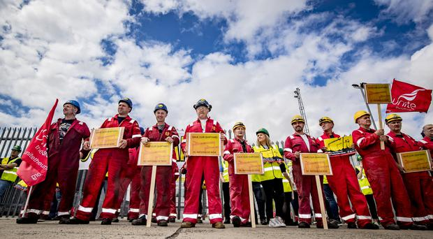 Shipyard workers protest outside Harland and Wolff in Belfast as the shipyard is threatened with closure (Photo by Kevin Scott for Belfast Telegraph)
