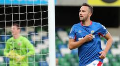 Andy Waterworth celebrates scoring against HB Torshavn last week to seal his side's place in the Europa League third qualifying round.