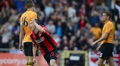 Crusaders Paul Heatley was involved in his side's opener against Wolves at Seaview.