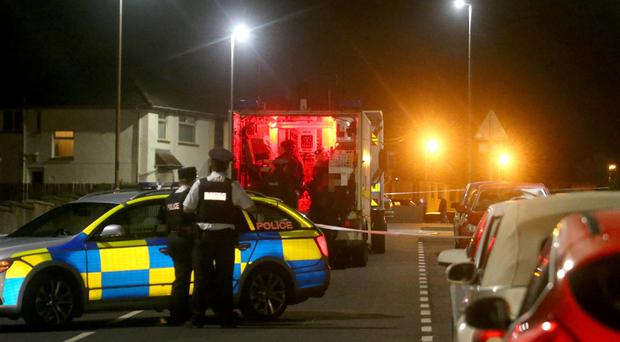 Police at the scene in the Drumtarsey Road area of Coleraine. Pic Kevin McAuley/McAuley Multimedia