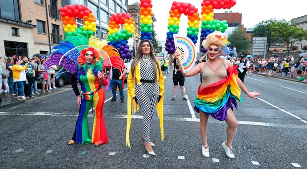 Drag artists take part in the Belfast Pride parade. PRESS ASSOCIATION Photo. Picture date. Photo credit should read: Niall Carson/PA Wire