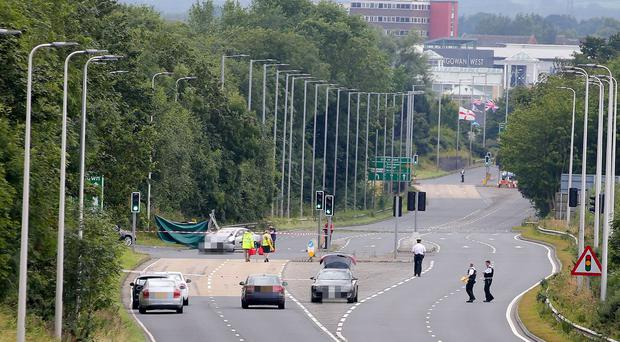 The scene on Northway in Portadown where the crash happened on Sunday afternoon. Picture by Jonathan Porter/PressEye