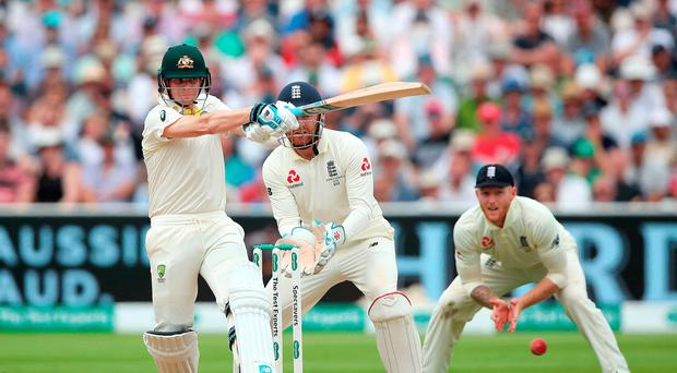 Big hitter: Australia's Steve Smith gives the tourists the edge in the first Ashes test