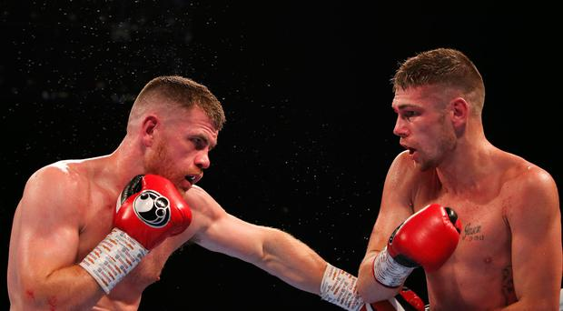 Disappointed: Paddy Gallagher (left) lost his British and Commonwealth title fight against Chris Jenkins in controversial fashion