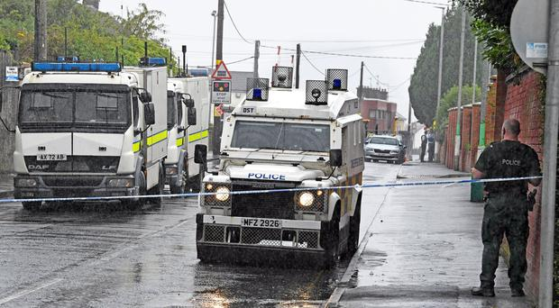 The scene of a security alert in the Lake Street area of Lurgan. Credit: Alan Lewis/Photopress