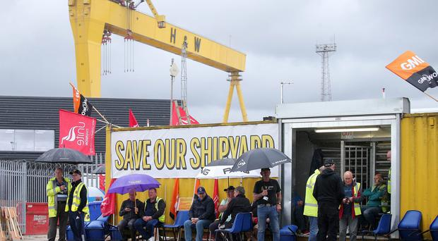 Harland & Wolff workers continue their protest at the Belfast shipyard. Picture by Jonathan Porter/PressEye