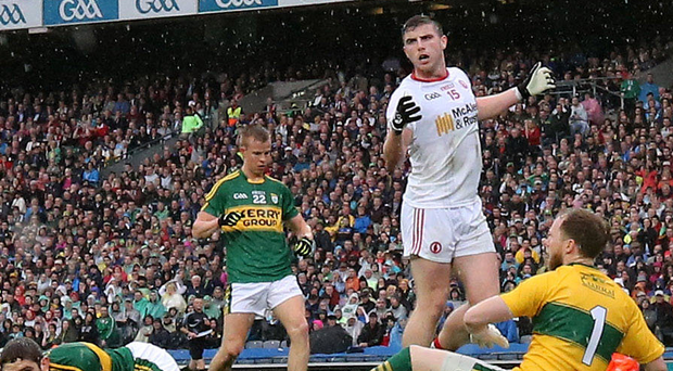 No joy: Conor McAliskey misses a goal chance against Kerry in the 2015 All-Ireland semi-final