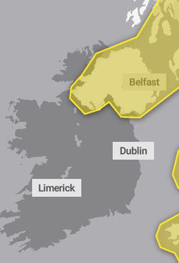 The weather warning will be in place for most of Friday. Credit: Met Office